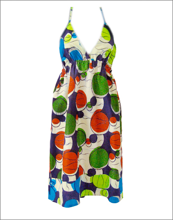 Bubble Print Mix Halter Neck Dress