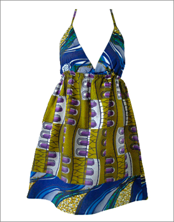 Print Mix Halter Neck Dress